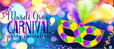 Traditonal colors carnival mask on shining bokeh lights, Mardi Gras invitation banner template Royalty Free Stock Photos