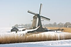 Traditonal windmill in the Netherlands in winter Stock Image