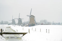 Traditonal windmills in the countryside from the Netherlands Stock Images