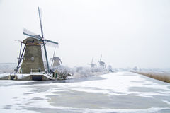 Traditonal windmills in the countryside from the Netherlands Royalty Free Stock Photos