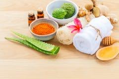Tradizionale degli ingredienti tailandesi di cura di pelle Fotografia Stock Libera da Diritti