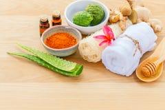 Tradizionale degli ingredienti tailandesi di cura di pelle Immagini Stock Libere da Diritti