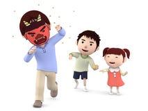 ` Tradizionale giapponese di Setsubun del ` di festival, illustrazione 3D, Immagini Stock