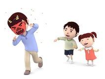 ` Tradizionale giapponese di Setsubun del ` di festival, illustrazione 3D, Fotografia Stock Libera da Diritti