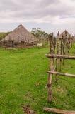 Tradizionale ricopra di paglia, argilla e case di legno dell'allevatore di pecore in altopiani del Camerun, Africa Immagine Stock