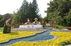 59 tradizionali annuali fioriscono il paese di mostra una, Kyiv, Ucraina Immagine Stock