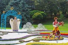 59 tradizionali annuali fioriscono il paese di mostra una, Kyiv, Ucraina Fotografia Stock