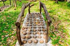 Tradizionali tailandesi, coperture della noce di cocco modificano per il massaggio del piede in publi immagini stock