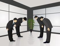 Tradizioni orientali Abitudine giapponese del saluto con un arco fotografia stock libera da diritti