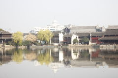 The tradtional bulding reflection on Lake(Jiaxing,China) Royalty Free Stock Photography