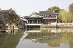The tradtional bulding reflection on Lake(Jiaxing,China) Stock Photography