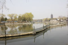 The tradtional bulding reflection on Lake(Jiaxing,China) Royalty Free Stock Images