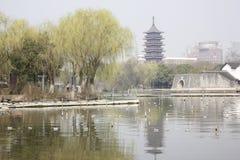 The tradtional bulding reflection on Lake(Jiaxing,China) Royalty Free Stock Image