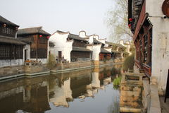 The tradtional bulding reflection on Lake(Jiaxing,China) Stock Photo