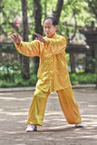 Tradtional a habillé l'homme pratiquant Tai Chi, Xian, Chine Photo stock