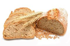 Tradtional homemade bread on white background Stock Photo