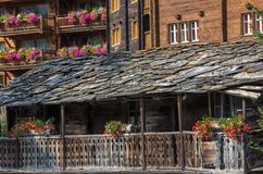Free Tradtional Wooden Houses And Roofs, Zermatt, Switzerland Stock Photography - 100187152