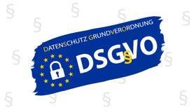 Tradução alemão regulamentar da proteção de dados geral: Datenschutz Grundverordnung DSGVO Imagens de Stock Royalty Free