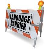 A tradução da barreira linguística interpreta palavras do significado da mensagem Imagens de Stock Royalty Free