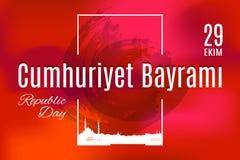 Tradução de Cumhuriyet Bayrami 29 Ekim do feriado de Turquia do turco Imagem de Stock