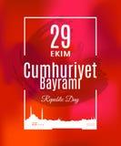 Tradução de Cumhuriyet Bayrami 29 Ekim do feriado de Turquia do turco: O dia da república do 29 de outubro Imagem de Stock Royalty Free