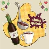 Tradução do texto do respingo: vinho ferventado com especiarias Fotografia de Stock Royalty Free