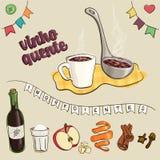 Tradução do texto: vinho e ingredientes ferventados com especiarias Imagem de Stock Royalty Free