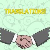 Traduções da escrita do texto da escrita Processo escrito ou impresso do significado do conceito de traduzir a voz do texto das p ilustração do vetor