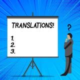 Traduções do texto da escrita da palavra Conceito do negócio para o processo escrito ou impresso de traduzir a voz do texto das p ilustração royalty free