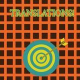Traduções do texto da escrita Processo escrito ou impresso do significado do conceito de traduzir o dardo da cor da voz do texto  ilustração stock