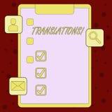 Traduções do texto da escrita Processo escrito ou impresso do significado do conceito de traduzir a prancheta da voz do texto das ilustração stock