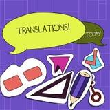 Tradu??es do texto da escrita Processo escrito ou impresso do significado do conceito de traduzir a placa da voz dois do texto da ilustração royalty free