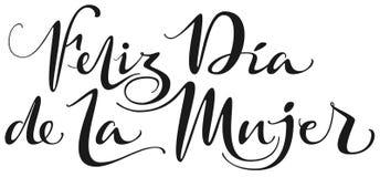 Traducción del texto de Feliz Dia de la Mujer del español Texto para mujer feliz de las letras de día para la tarjeta de felicita ilustración del vector