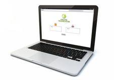 Traducción en línea del ordenador portátil Imagen de archivo libre de regalías