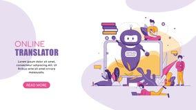 Traducteur en ligne Chatbot de bannière plate horizontale illustration stock