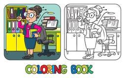 Traducteur ou interprète drôle Livre de coloration illustration de vecteur