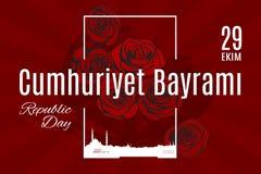 Traduction de Cumhuriyet Bayrami 29 Ekim de vacances de la Turquie de turc Image stock
