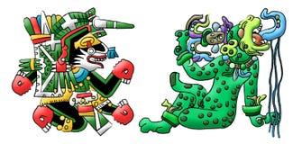 Traductions aztèques maya d'un crabot et d'un jaguar Photos libres de droits