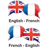 Tradutor de França do inglês Imagens de Stock