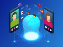 Tradutor em linha isométrico da voz e aprendizagem do conceito das línguas Aprendendo, traduza línguas ou o guia audio ilustração royalty free