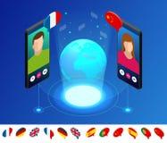Tradutor em linha isométrico da voz e aprendizagem do conceito das línguas Aprendendo, traduza línguas ou o guia audio ilustração do vetor