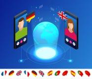 Tradutor em linha isométrico da voz e aprendizagem do conceito das línguas Aprendendo, traduza línguas ou o guia audio ilustração stock