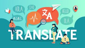 Tradutor em linha no telefone celular Traduza a língua estrangeira ilustração do vetor