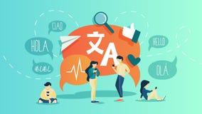 Tradutor em linha Traduza a língua estrangeira rápida e fácil ilustração do vetor