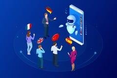 Traduttore online isometrico di voce ed imparare concetto di lingue L'e-learning, traduce le lingue o l'audio guida royalty illustrazione gratis