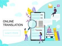 Traduttore online in telefono cellulare o compressa illustrazione di stock