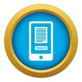 Traduza a aplicação em um vetor azul do ícone do smartphone isolado ilustração stock