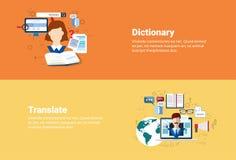 Traduza a bandeira da Web da ferramenta de tradução da tecnologia do vocabulário do dicionário ilustração do vetor