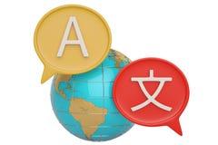 Traduza caixas e globo de diálogo no illustrat branco do fundo 3D ilustração royalty free