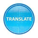 Traduza o botão redondo azul floral ilustração stock